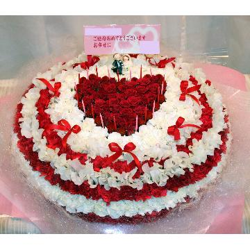 ケーキフラワーL:結婚式のお祝いにもピッタリ!最大級に華やかなハートのケーキフラワー【花 フラワーギフト アレンジメント フラワー 誕生日】[品番:0109]の画像1枚目