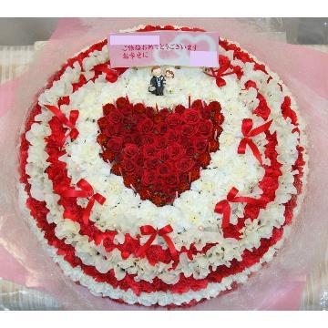 ケーキフラワーL:結婚式のお祝いにもピッタリ!最大級に華やかなハートのケーキフラワー【花 フラワーギフト アレンジメント フラワー 誕生日】[品番:0109]の画像2枚目
