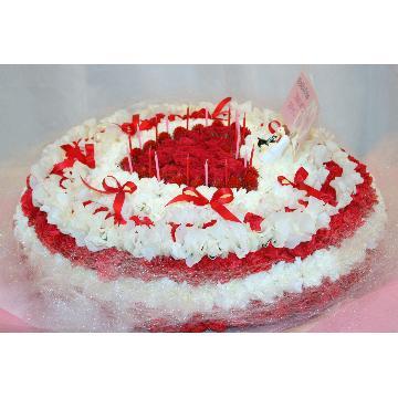 ケーキフラワーL:結婚式のお祝いにもピッタリ!最大級に華やかなハートのケーキフラワー【花 フラワーギフト アレンジメント フラワー 誕生日】[品番:0109]の画像3枚目