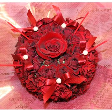 ケーキフラワーS:記憶に残るプレゼント!真っ赤なケーキフラワー【花 フラワーギフト アレンジメント フラワー 誕生日】[品番:0120]の画像1枚目