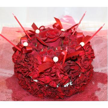 ケーキフラワーS:記憶に残るプレゼント!真っ赤なケーキフラワー【花 フラワーギフト アレンジメント フラワー 誕生日】[品番:0120]の画像2枚目