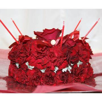 ケーキフラワーS:記憶に残るプレゼント!真っ赤なケーキフラワー【花 フラワーギフト アレンジメント フラワー 誕生日】[品番:0120]の画像3枚目