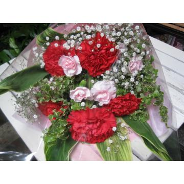 大輪赤カーネーションの花束の画像2枚目