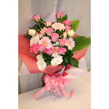 【NEW】花束:華やかなピンクの花束☆【花 フラワーギフト アレンジメント フラワー 誕生日】[品番:0161]の画像1枚目