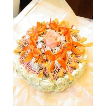 ケーキフラワーM:キュート&ラブリー(オレンジ系)【花 フラワーギフト アレンジメント フラワー 誕生日】[品番:0053]