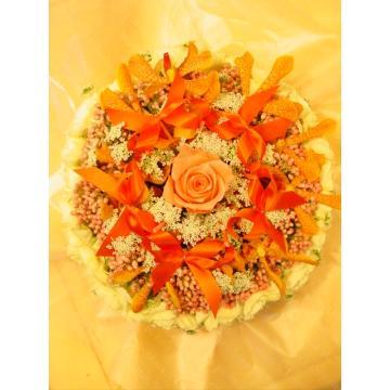 ケーキフラワーM:キュート&ラブリー(オレンジ系)【花 フラワーギフト アレンジメント フラワー 誕生日】[品番:0053]の画像2枚目