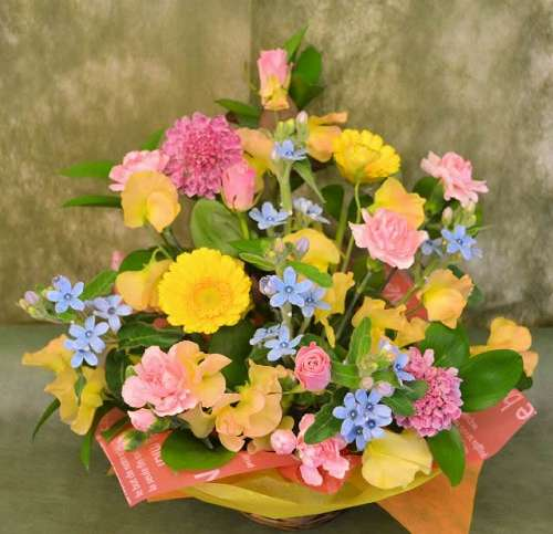 【送料無料】カラフルアレンジメント(生花アレンジメント)【花 フラワーギフト アレンジメント フラワー 誕生日】の画像1枚目