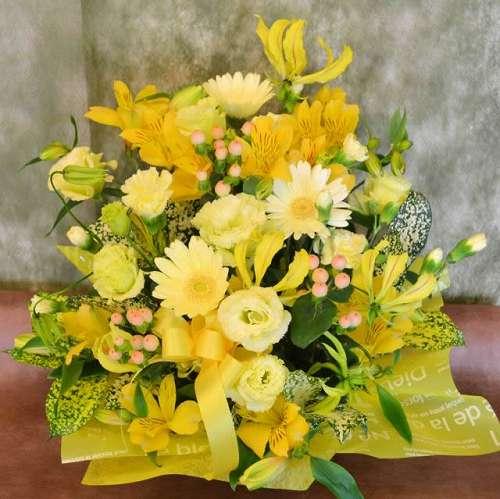 【送料無料】キイロのアレンジメント(生花)【花 フラワーギフト アレンジメント フラワー 誕生日】の画像1枚目