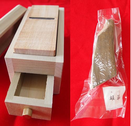 国産ハーフ本節(雄節)+オリジナル極ミニ鰹箱(削り器)セットの画像1枚目