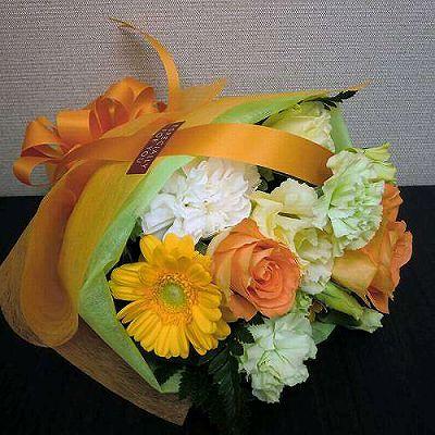 おすすめブーケORANGE【フラワーギフト 贈答 アレンジメント お花 敬老の日】の画像1枚目