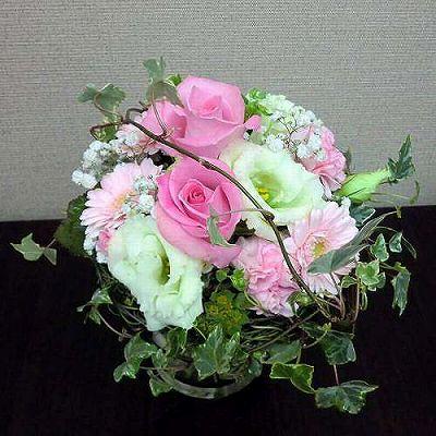 花瓶付きブーケPINK【フラワーギフト 贈答 アレンジメント お花 敬老の日】の画像1枚目