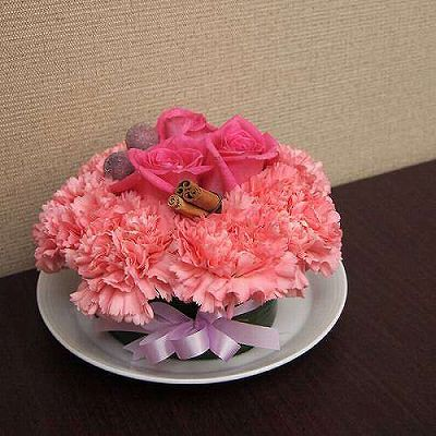 フラワーーケーキPINK【フラワーギフト 贈答 アレンジメント お花 敬老の日】の画像1枚目
