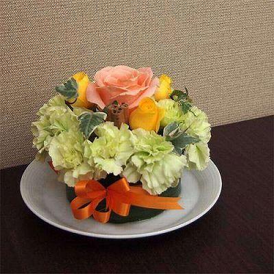 フラワーケーキYELLOW【お花 贈答 フラワーギフト 敬老の日】の画像1枚目