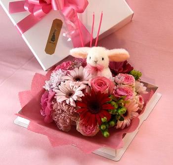 うさぎ入デコレーションケーキフラワー(ピンク)