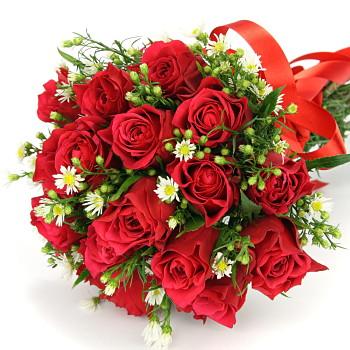 おまかせ!赤バラの花束ブーケ プレゼント 花 ギフト14【お急ぎ便対応】【敬老の日 誕生日 開店祝い】