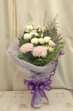 お盆やお彼岸にぴったりの花束(白・パープル系)0259【花 フラワーギフト フラワー】の画像1枚目