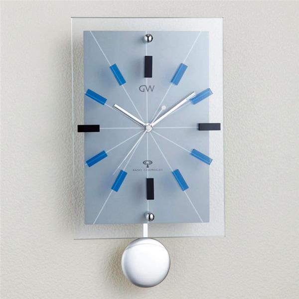 グラスワークス ナルミ  エウロパ 電波飾振子時計 (壁掛 青)  名入れ【お誕生日祝い 結婚祝い 内祝い ギフト】の画像1枚目