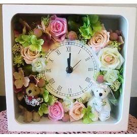 【プリザーブドフラワー】花時計35【ウエディング・テディベア 結婚祝】の画像1枚目