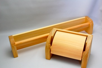 ヒノキワイドセット(トイレットペーパーホルダー&タオルハンガーワイド)