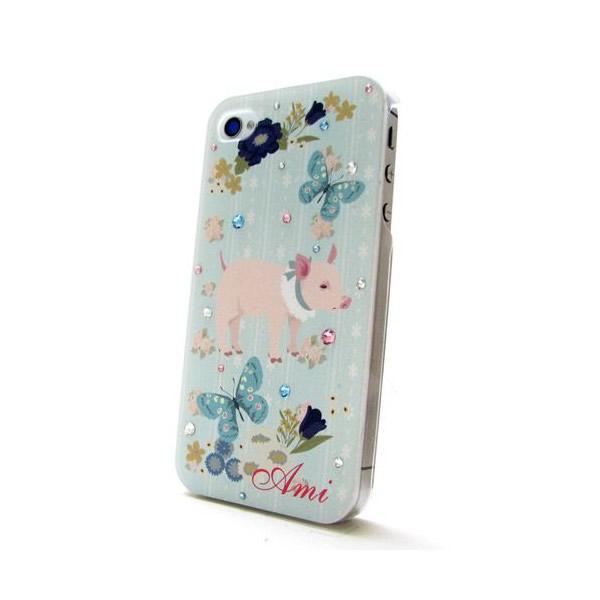 各種スマートフォン対応 名入れプリント スワロフスキースマホケース 豚と蝶♪の画像1枚目
