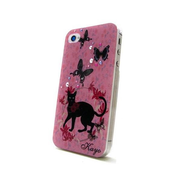 各種スマートフォン対応 名入れプリント スワロフスキースマホケース 黒猫と蝶♪の画像1枚目