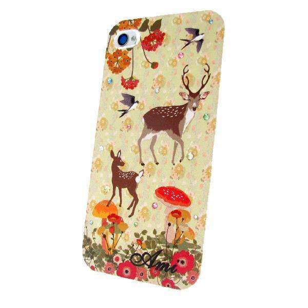 各種スマートフォン対応 名入れプリント スワロフスキースマホケース 鹿の親子♪の画像1枚目