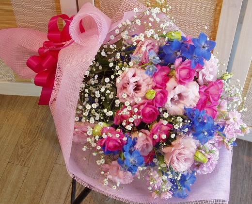 ピンクブルーの華やかな花束【花 フラワーギフト プレゼント】の画像1枚目