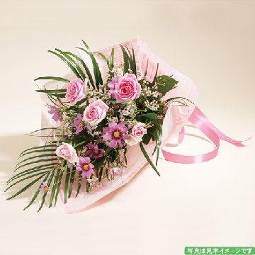 バラとコスモスの優しい花束