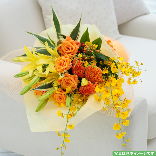 ユリの花束【誕生日 記念日 バースデー プレゼント 贈答 お祝い 花束 ブーケ】の画像1枚目
