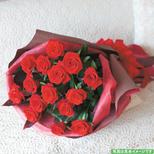 赤バラ(15本)のスタイリッシュブーケ【誕生日 記念日 バースデー プレゼント 贈答 お祝い 花束 ブーケ】