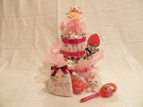 【ポイント10倍】おむつケーキ2段(女の子用)【誕生日 バースデー 贈答 プレゼント ギフト キャンディ】