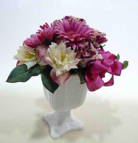 アーティシャルフラワ(造花)陶器花器入り【造花 アレンジメント フラワーギフト プレゼント】の画像1枚目