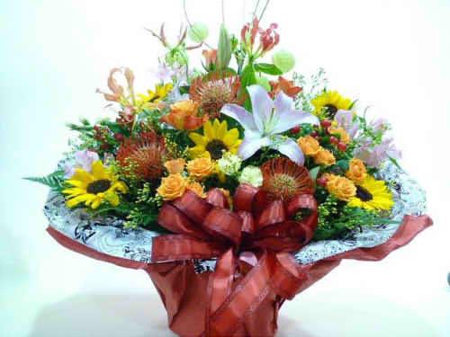 生花アレンジバスケット入り5【花 フラワーギフト プレゼント お祝い 誕生日 贈り物】