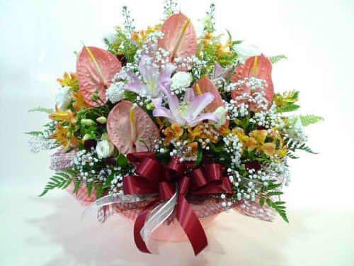 生花アレンジバスケット入り6【花 フラワーギフト プレゼント お祝い 誕生日 贈り物】の画像1枚目