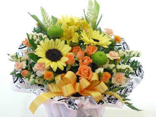 生花アレンジバスケット入り8【花 フラワーギフト プレゼント お祝い 誕生日 贈り物】