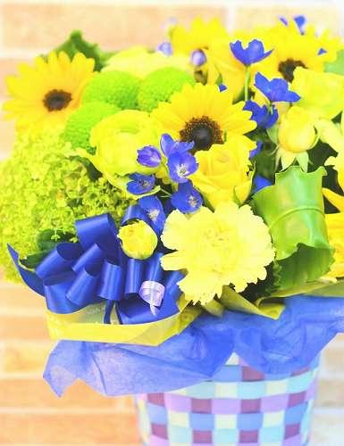 【送料無料】夏のひまわりアレンジL【花 フラワーギフト アレンジメント フラワー 誕生日】