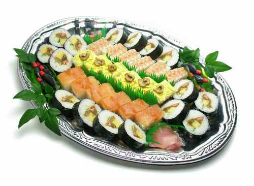 【ポイント10倍】押し寿司と巻寿司盛り合わせ【手作り オードブル 惣菜 高級食材使用】の画像1枚目