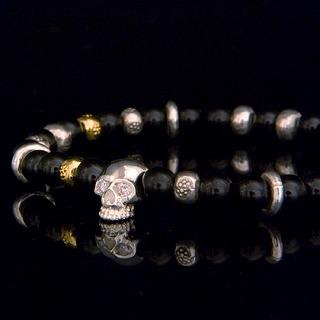 Black Spinel Skull Bracelet 【Silver】の画像1枚目