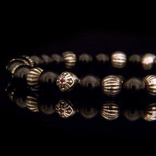 Large Cross Black Spinel Bracelet 【Ruby】の画像1枚目