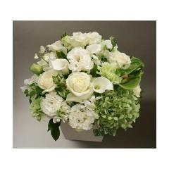 【ポイント10倍】【銀座花門】オリジナルアレンジメントL(ホワイト)【花 フラワーギフト プレゼント お祝い 誕生日 贈り物】