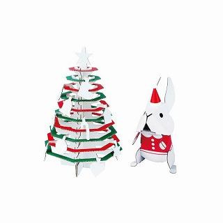 ダンボール工作キット メリークリスマス クリスマスツリーとサンタうさぎ【プレゼント 贈り物 誕生日 記念日】の画像1枚目