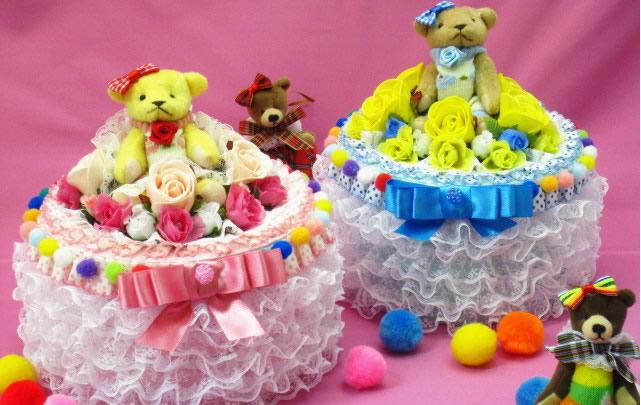 【ポイント10倍】カラフルな丸い形の1段おむつケーキ【あす楽対応】【出産祝い 名入れ プレゼント 贈り物】の画像1枚目