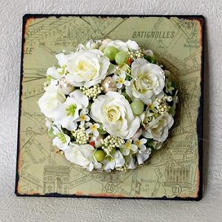 【ポイント10倍】造花プレート『blanc』の画像1枚目