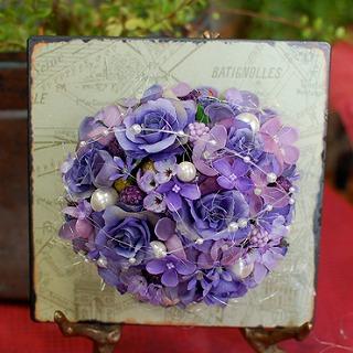 【ポイント10倍】造花プレート『violet』