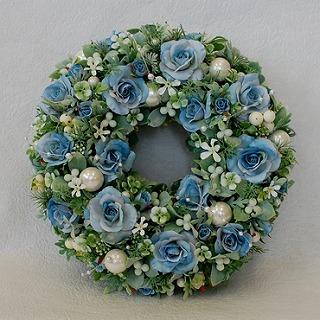 ポイント10倍!造花リース『Bleu』の画像1枚目