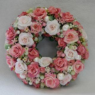 【ポイント10倍】造花リース『Rose』
