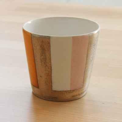 徳田吉美 カップ大 マルチストライプ ピンク【職人手作り、新築引越し祝い、木製】の画像2枚目