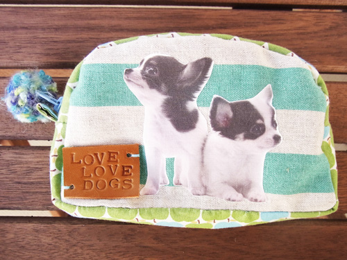 愛犬オリジナルポーチ(丸型グリーン)【誕生日 贈り物 プレゼント お祝い ペット】の画像1枚目
