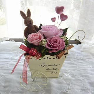 【お誕生日プレゼント/プリザーブドフラワー】littlegarden(ピンク)の画像1枚目