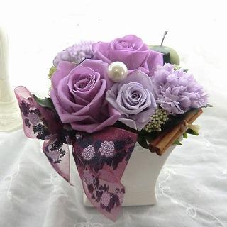 【誕生日花ギフト】プリザーブドフラワーギフト カラー:紫の画像1枚目